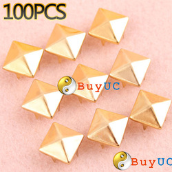 New 100PCS 8mm Golden DIY Baoxie Clothing Accessories Punk Square Rivet(China (Mainland))