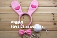 free shipping 40g halloween rabbit ears hair bands bow tie rabbit adult child headband rabbit piece set