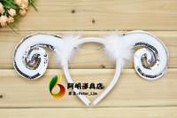free shipping 40g animal headband hair accessory hair bands paillette sheep goat horn hair bands goat horn headband