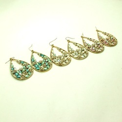 New arrival wholesale stocking fashion sparkling created diamond flower waterdrop hoop earrings 3colors free shipping(China (Mainland))