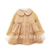 2013 New arrival children's clothing spring female yarn patchwork plus velvet long-sleeve dress princess dress