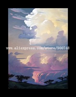 Impressionist Art Painting Abstract Sky Clouds vintage HAWKINS office wall decor abstract oil painting nude wall art canvas art