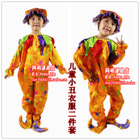 free shipping Halloween performance wear animal clothes clown clothes child clown set clown clothes triangle set
