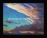 Impressionist Art oil Painting Sky Landscape painting paint vintage HAWKINS hand painted tree oil painting bright art canvas