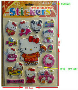 Elegant Stereo stickers /64 models for choose /Sponge cartoon hello kitty wall sticker children kids stickers promotion gifts(China (Mainland))