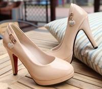 Free drop shipping ladies fashion high heels 2013 spring new platform pumps big size shoes woman Girls metal rhinestone SXX32788