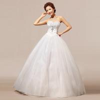 New Arrival Tube Top Lace Crystal Diamond Puff High-quality Elegant Sweet Princess The Bride Wedding Dress