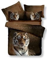 cotton bedlinen cool tiger animal pattern home textile 4pcs for Queen/Full bed comforter quilt/duvet covers bedding sets