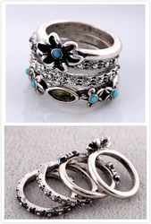 Free Shipping Fashion Vintage Carved Flower Silver 4 Rings Set Design Jewelry (Min Order $20 Can Mix)(China (Mainland))