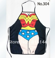 Free Shipping Hot Sale Sexy Aprons Party Product Festival Gift Funny Superwoman Kitchen Cooking Apron Novelty Funny