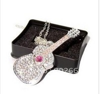 Beautiful Cute Gift 4GB 8GB 16GB 32GB CRYSTAL GUITAR NECKLACE USB FLASH MEMORY STICK PEN THUMB DRIVE silver 100%full capacity
