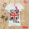 Women UK flag printed casual cotton t shirt,2013 summer new models Slim short-sleeved t-shirt wholesale,X2640