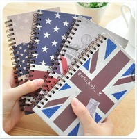 Korea Lovely Schedule Plan Book Cute Planner Notebook Notepad Note Pad Retro Flag Kraft Cover vintage stationery Loose-leaf