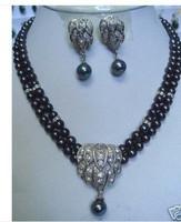 jade Black pearl necklace earring pendant sets Ketten
