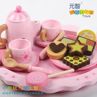 Baby child artificial toys wooden tea service set(China (Mainland))