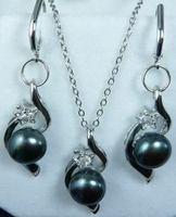 Beautiful black pearl pendant earrings set