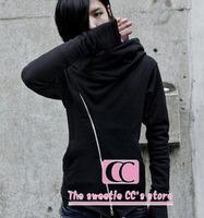 Spring and autumn fashion black oblique zipper decoration with a hood cardigan long-sleeve men's sweatshirts(S/M/L/XL/XXL/XXXL)