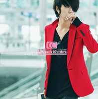 Spring and autumn fashion black/red suit for wedding long-sleeve single breasted slim men's blazer(S/M/L/XL/XXL/XXXL) wholesale