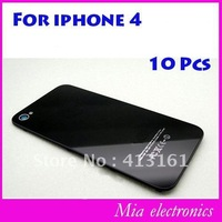Free shipping Replacement Black/white Glass Battery Cover Back Housing for Iphone 4G 10 Pcs