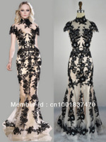 sy-01 2013 new arrival hotsale zuhair murad mermaid short sleeve lace floor length zuhair murad evening dresses