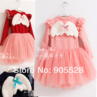 2013 Angel wings dress tutu veil princess dress thickened winter autumn elegant princess baby clothing baby long-sleeve dress