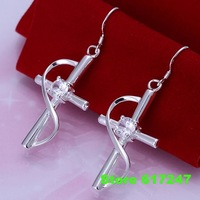 E194 925 sterling silver Earring 2013 fashion jewelry earrings for women The inlaid stone cross earrings /amma jdta