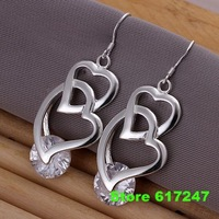 E174 925 sterling silver Earring 2013 fashion jewelry earrings for women Inlaid stone double heart earrings /alsa jcza