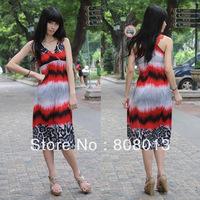 free shipping fashion dress ladies' dress Bohemia fancy viscose vest full dress one-piece dress 21104