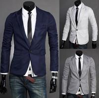 Fashion Silm Fit Stylish Mens Suit V Neck One Button Blazer Suit Business Coat Jacket US Size XS S M L