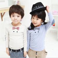2013 spring plaid bow tie boys clothing girls clothing baby long-sleeve T-shirt basic shirt tx-0602