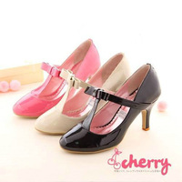 Big size casual patent leather mid heel T-Strap high heel shoes women's pumps 3 colors wholesale JZ01-2