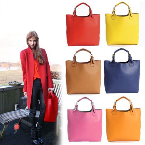 New Vintage Celebrity Women Handbag PU Leather Tote Shoulder Shopper Bag Mult 7 Colors Super Star Ready Stock Free Drop Shipping(China (Mainland))