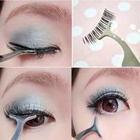 False Fake Eyelashes clip stainless steel Eye Lash eyelash curler Applicator Beauty Makeup Cosmetic Tool freeshipping