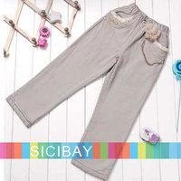 Children Autumn Clothes Girls Unique Trousers Flower Design Pants, Free Shipping K0311