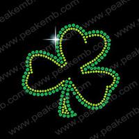 30pcs/Lot Free Shipping  Irish Shamrock Rhinestone Transfers Iron On For St' Patrick's Day Free Custom Design