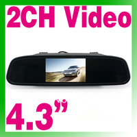 "Free Shipping New Wholesale 4.3"" TFT LCD Mirror Car Rear View DVD Monitor 2 Video input O-894"