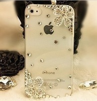 FREE SHIPPING BRAND PHONE CASE-Double Flower Bling Rhinestone Crystal Cell Phone Cover Case For iPhone 4/4S 5