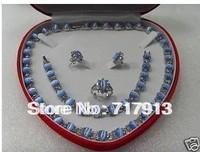 Elegant Set Jewelry blue opal necklace bracelet Earring