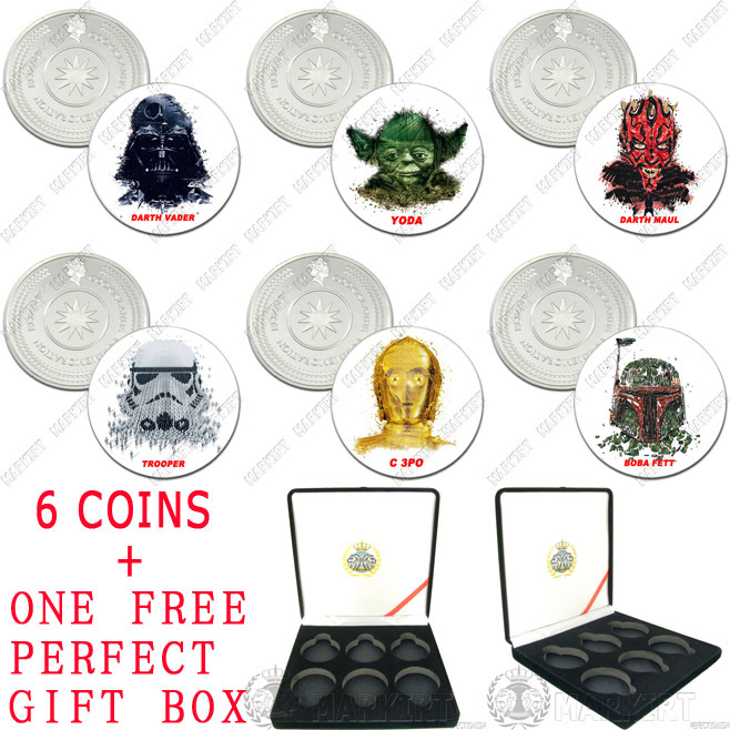 STAR WARS COLOR GLAZE COIN 6 COIN SET WHOLESALE SZP1081(China (Mainland))