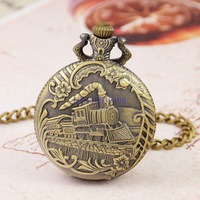 FREE SHIPPING Hot sale Bronze Antique Steam Train Pattern Carved 45mm Diameter Mens Quartz 35cm length FOB Chain Pocket Watch