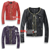 Designer Short in size fashion female slim beaded metal fine chain o-neck long-sleeve short design leather clothing 3