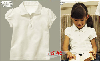 Summer children's clothing female child short-sleeve T-shirt - puff sleeve - school wear student clothing school uniform (CC012)