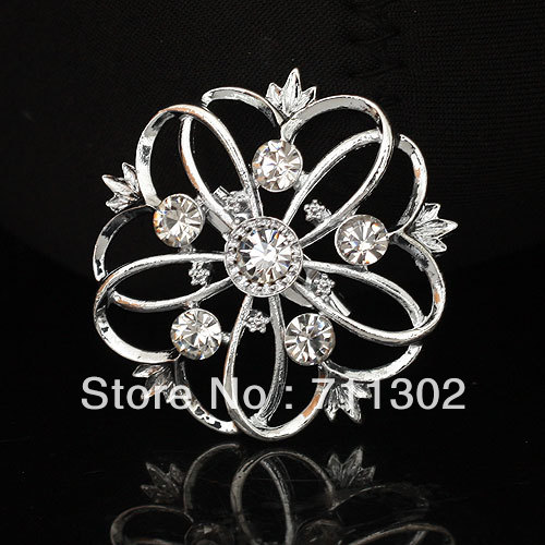 Newest Alloy Flower Brooch,Rhinestone Brooch For Wedding Invitations, Rhinestone Flower Bridal Brooch, 12pcs Free Shipping(China (Mainland))