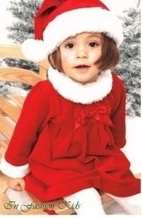 Christmas gift children's baby christmas bow dress+christmas hat set  girl dress Freeshipping