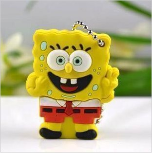 FREE SHIPPING ! SpongeBob Real 2GB 4GB 8GB Cartoon USB 2.0 Flash Pen Drive Disk !