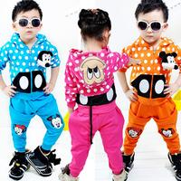 2013 spring and autumn female child children's clothing cartoon dot MICKEY baby child sports set 2 piece set
