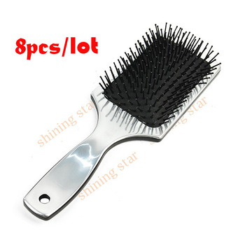 "Wholesale 8pcs/lot plastic Hair Brush ""WET"" Detangling Hard Plastic Handle Silver 10109"