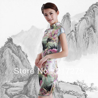 Sexy Satin Traditional Chinese Clothing Women's cheongsams green #D0137 Size:S-2XL