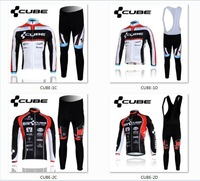2012 CUBE Team Cycling Clothing/Cycling Wear/Bib Long Sleeve Cycling Jersey Suit-CUBE-2D Free Shipping!