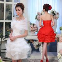 New Arrival Sweet Elegant Short Design Fashion Bride Princess Wedding Dress Free Shipping